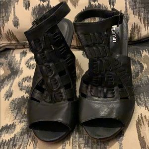 "Shoes - Cute black sandal wedges with brown ""wood"" wedge"